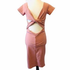 Pink Fitted Stretch Dress with Back Cut Out Sz 8